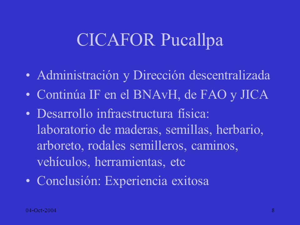 04-Oct-20049 Otras Experiencias CIFOR –Desde 1997 en Pucallpa –Investigaciones en Manejo de Bosques Secundarios y Áreas degradas –Estado de las plantaciones de enriquecimiento y de la RN en bosques de Ucayali y P.