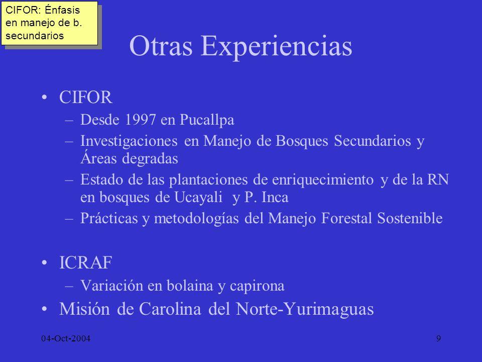 04-Oct-200410 Experiencia IIAP Creado en 1982, hereda de COTESU CI Jenaro Herrera, instalado a partir de 1967 Desde 1996 IIAP tiene un Plan Estratégico de Investigación que define 10 líneas de investigación forestal: a)Dinámica de BT: b)Cadena productiva; c)Economía y política; d)Transformación y mercado; e)Manejo de Ecos.