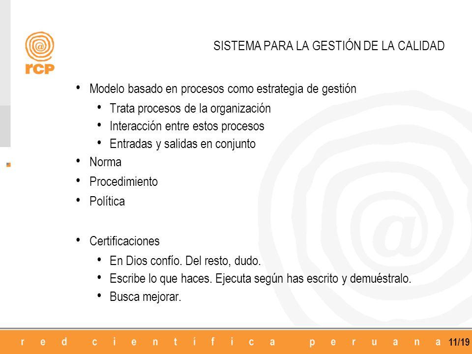11/19 SISTEMA PARA LA GESTIÓN DE LA CALIDAD Modelo basado en procesos como estrategia de gestión Trata procesos de la organización Interacción entre e