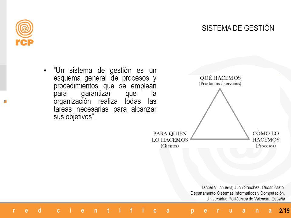 2/19 SISTEMA DE GESTIÓN Un sistema de gestión es un esquema general de procesos y procedimientos que se emplean para garantizar que la organización re