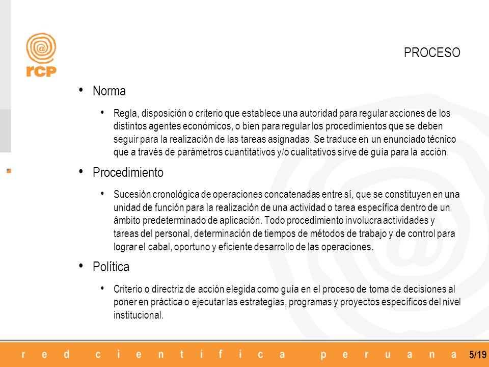 5/19 Norma Regla, disposición o criterio que establece una autoridad para regular acciones de los distintos agentes económicos, o bien para regular lo