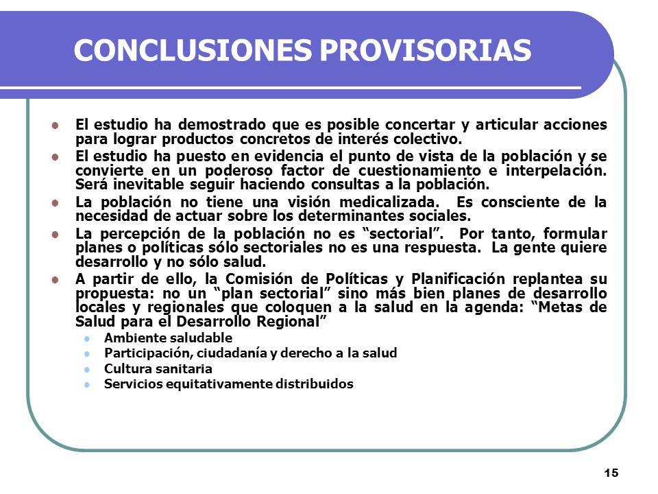 15 CONCLUSIONES PROVISORIAS El estudio ha demostrado que es posible concertar y articular acciones para lograr productos concretos de interés colectivo.