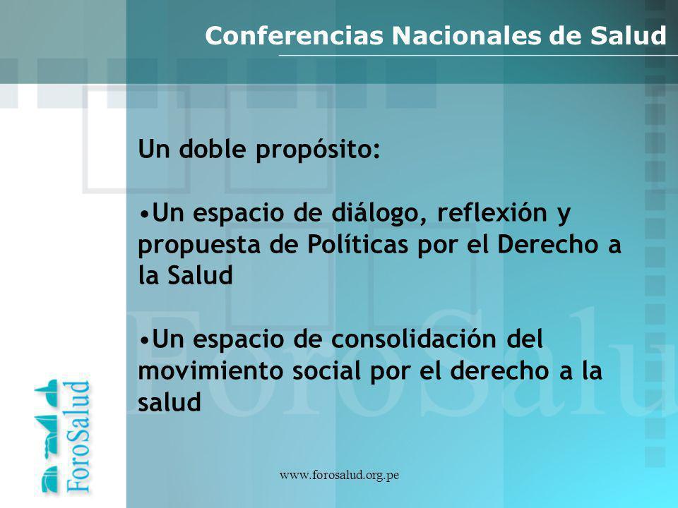 www.forosalud.org.pe Conferencias Nacionales de Salud Un doble propósito: Un espacio de diálogo, reflexión y propuesta de Políticas por el Derecho a l