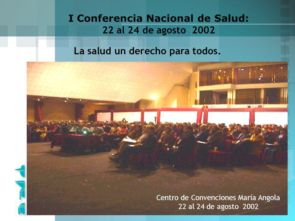 www.forosalud.org.pe La salud un derecho para todos. I Conferencia Nacional de Salud: 22 al 24 de agosto 2002 Centro de Convenciones María Angola 22 a
