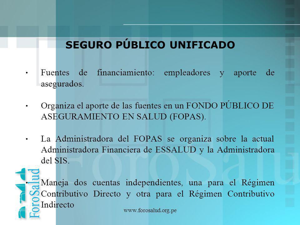 www.forosalud.org.pe Fuentes de financiamiento: empleadores y aporte de asegurados. Organiza el aporte de las fuentes en un FONDO PÚBLICO DE ASEGURAMI