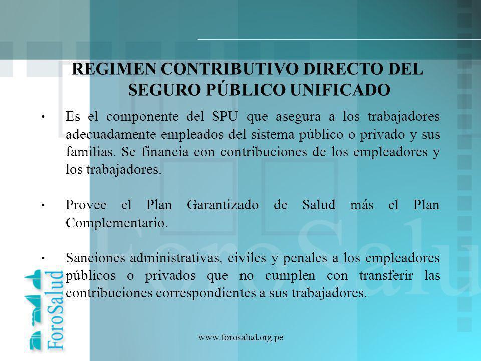 Es el componente del SPU que asegura a los trabajadores adecuadamente empleados del sistema público o privado y sus familias. Se financia con contribu
