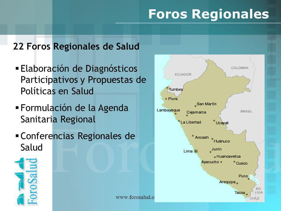 www.forosalud.org.pe Foros Regionales 22 Foros Regionales de Salud Elaboración de Diagnósticos Participativos y Propuestas de Políticas en Salud Formu