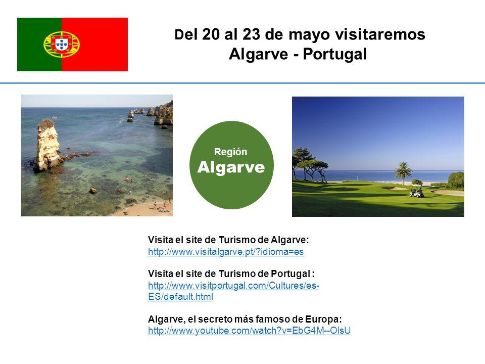 D el 20 al 23 de mayo visitaremos Algarve - Portugal Visita el site de Turismo de Algarve: http://www.visitalgarve.pt/ idioma=es http://www.visitalgarve.pt/ idioma=es Visita el site de Turismo de Portugal : http://www.visitportugal.com/Cultures/es- ES/default.html Algarve, el secreto más famoso de Europa: http://www.youtube.com/watch v=EbG4M--OlsU Región Algarve