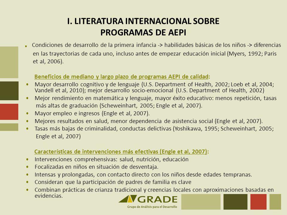 I. LITERATURA INTERNACIONAL SOBRE PROGRAMAS DE AEPI. Condiciones de desarrollo de la primera infancia -> habilidades básicas de los niños -> diferenci
