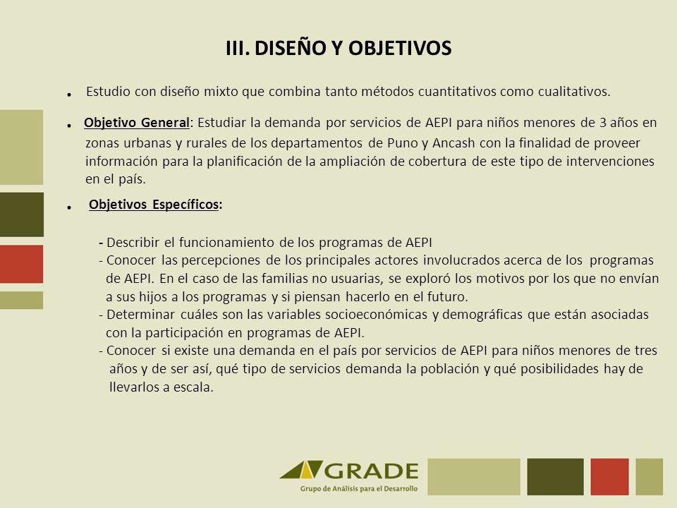 . Estudio con diseño mixto que combina tanto métodos cuantitativos como cualitativos.. Objetivo General: Estudiar la demanda por servicios de AEPI par