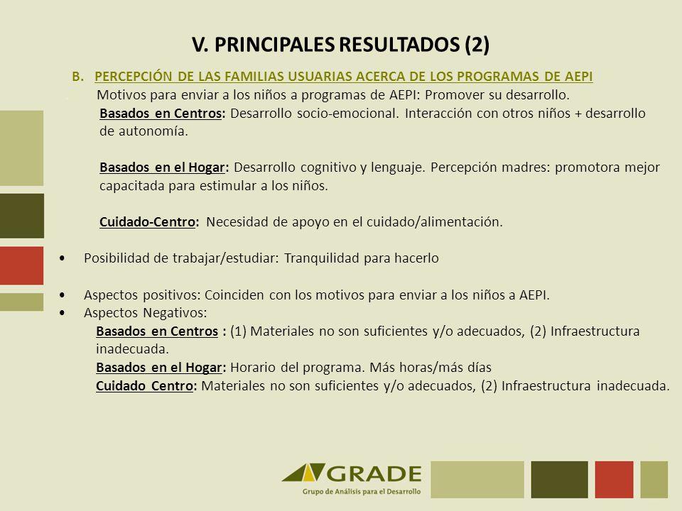 V.PRINCIPALES RESULTADOS (3) C. PERCEPCIÓN DE LAS FAMILIAS NO USUARIAS DE LOS PROGRAMAS DE AEPI.