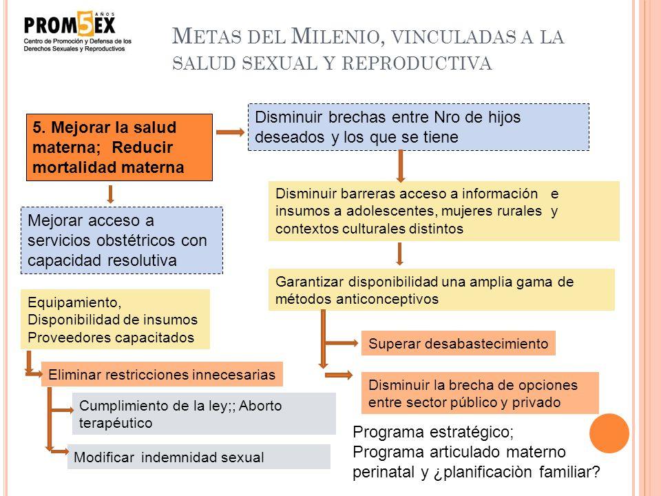 M ETAS DEL M ILENIO, VINCULADAS A LA SALUD SEXUAL Y REPRODUCTIVA Combatir el VIH; Detener y reducir la propagación del VIH/SIDA 5. Mejorar la salud ma