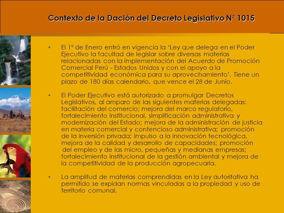 Control de Facultades Legislativas Delegadas al Poder Ejecutivo Es necesario señalar que los Decretos Legislativos como el 1015 están sujetos al control del Poder Legislativo, según señala el Reglamento del Congreso de la República: Reglamento del Congreso de la República.