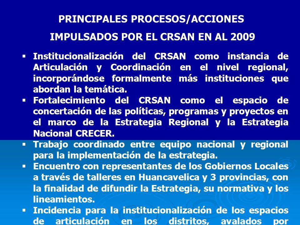 PRINCIPALES PROCESOS/ACCIONES IMPULSADOS POR EL CRSAN EN AL 2009 Institucionalización del CRSAN como instancia de Articulación y Coordinación en el nivel regional, incorporándose formalmente más instituciones que abordan la temática.