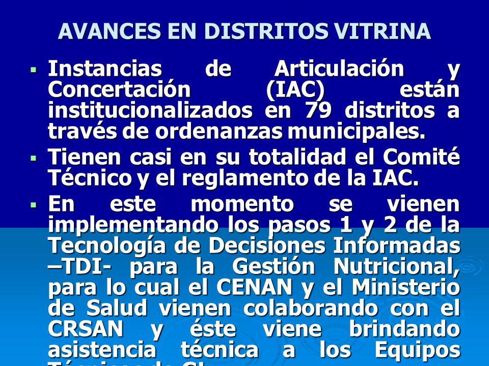 AVANCES EN DISTRITOS VITRINA Instancias de Articulación y Concertación (IAC) están institucionalizados en 79 distritos a través de ordenanzas municipales.