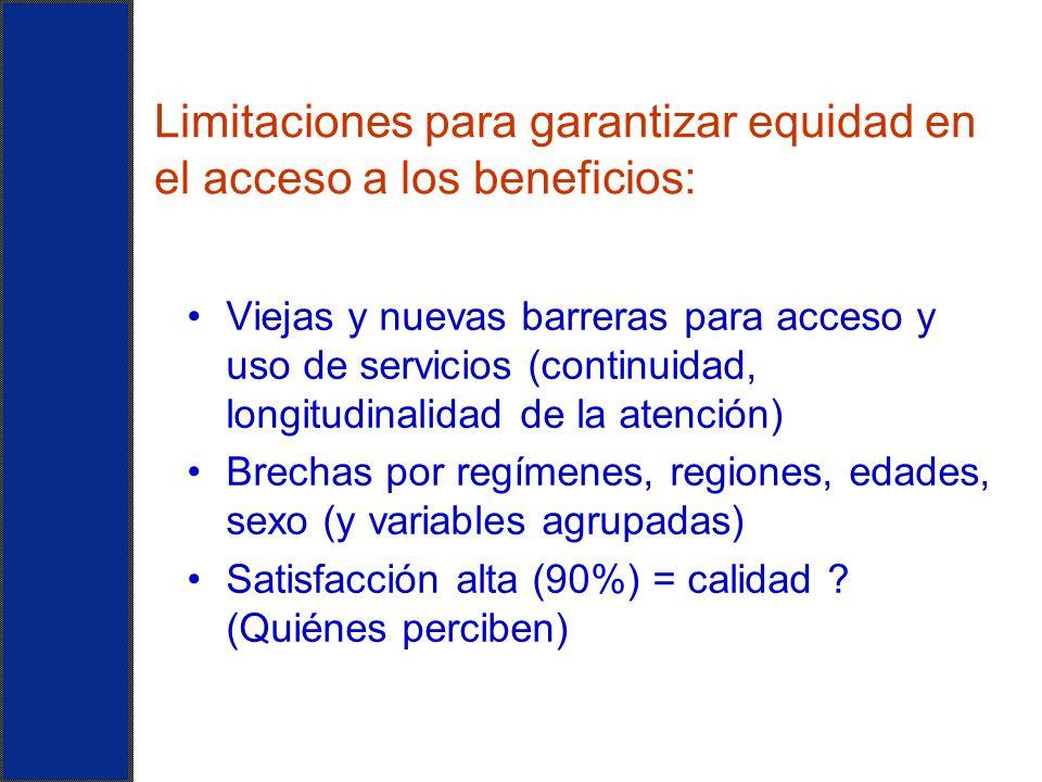 Limitaciones para garantizar equidad en el acceso a los beneficios: Viejas y nuevas barreras para acceso y uso de servicios (continuidad, longitudinal