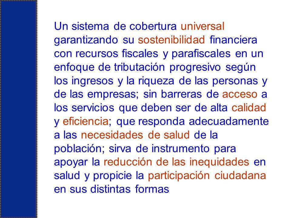 Un sistema de cobertura universal garantizando su sostenibilidad financiera con recursos fiscales y parafiscales en un enfoque de tributación progresi