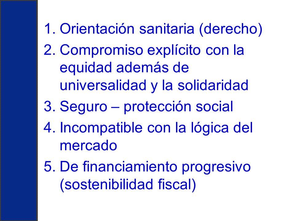 1.Orientación sanitaria (derecho) 2.Compromiso explícito con la equidad además de universalidad y la solidaridad 3.Seguro – protección social 4.Incomp