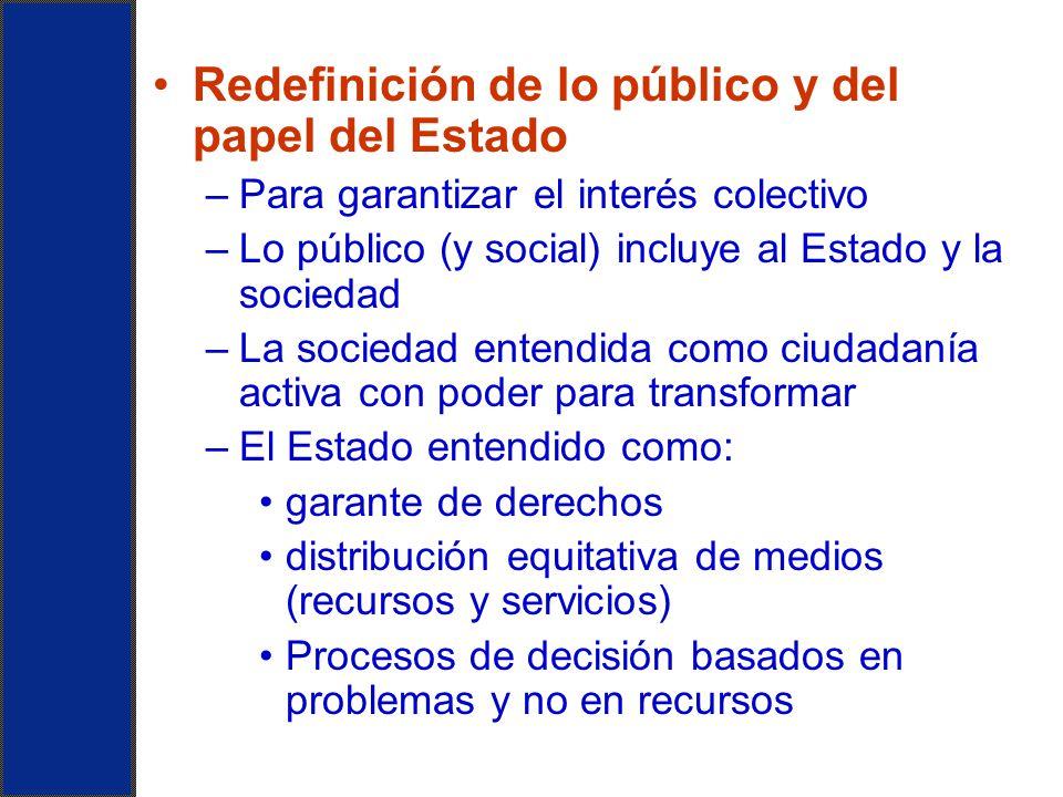 Redefinición de lo público y del papel del Estado –Para garantizar el interés colectivo –Lo público (y social) incluye al Estado y la sociedad –La soc