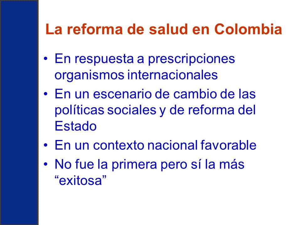 La reforma de salud en Colombia En respuesta a prescripciones organismos internacionales En un escenario de cambio de las políticas sociales y de refo