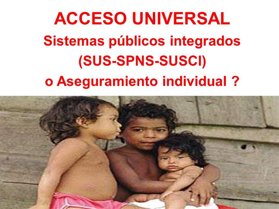 ACCESO UNIVERSAL Sistemas públicos integrados (SUS-SPNS-SUSCI) o Aseguramiento individual ?
