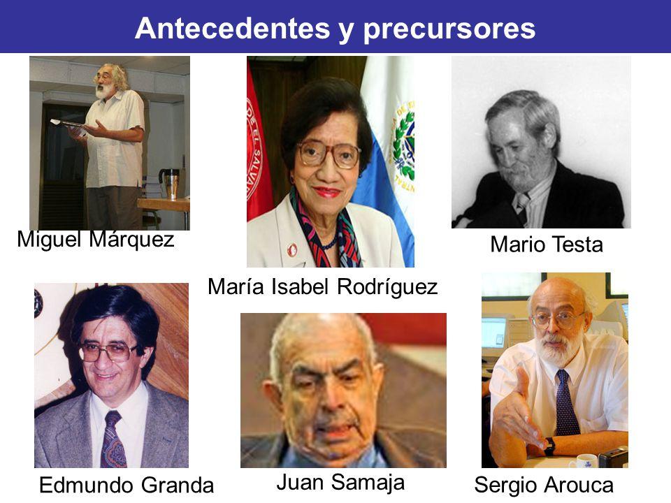 Edmundo Granda Sergio Arouca Juan Samaja Antecedentes y precursores Mario Testa Miguel Márquez María Isabel Rodríguez