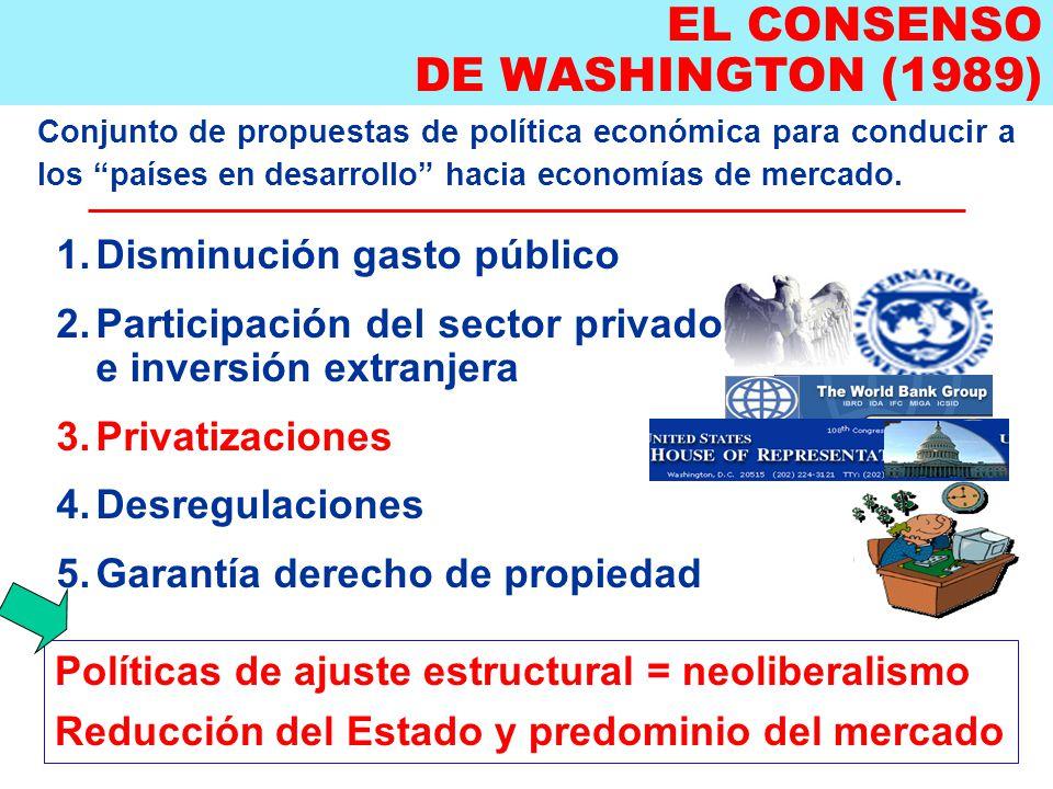 EL CONSENSO DE WASHINGTON (1989) Conjunto de propuestas de política económica para conducir a los países en desarrollo hacia economías de mercado.
