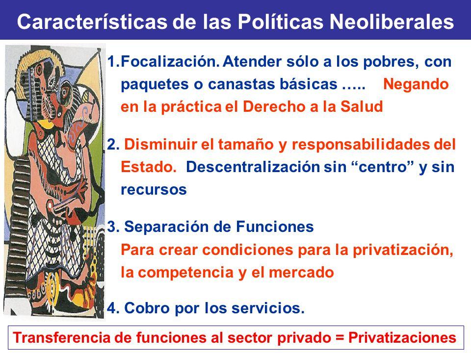 Características de las Políticas Neoliberales 1.Focalización. Atender sólo a los pobres, con paquetes o canastas básicas ….. Negando en la práctica el