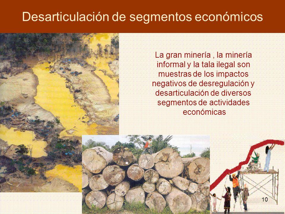 10 Desarticulación de segmentos económicos La gran minería, la minería informal y la tala ilegal son muestras de los impactos negativos de desregulación y desarticulación de diversos segmentos de actividades económicas