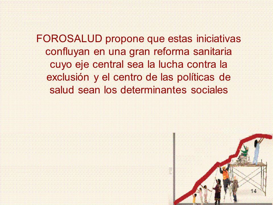 14 FOROSALUD propone que estas iniciativas confluyan en una gran reforma sanitaria cuyo eje central sea la lucha contra la exclusión y el centro de las políticas de salud sean los determinantes sociales