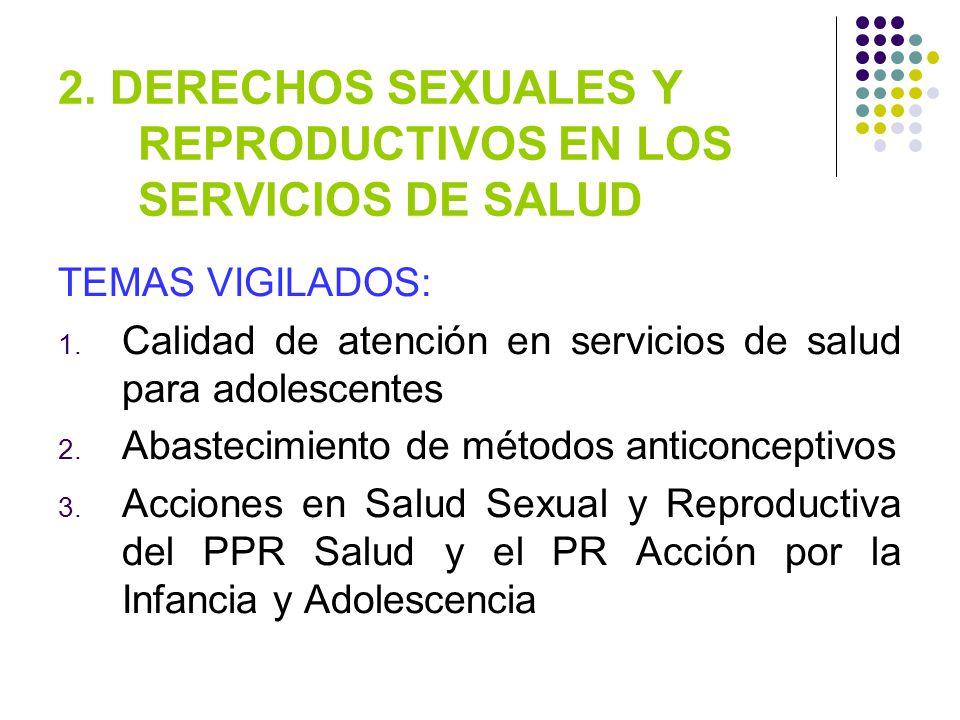 2.DERECHOS SEXUALES Y REPRODUCTIVOS EN LOS SERVICIOS DE SALUD TEMAS VIGILADOS: 1.
