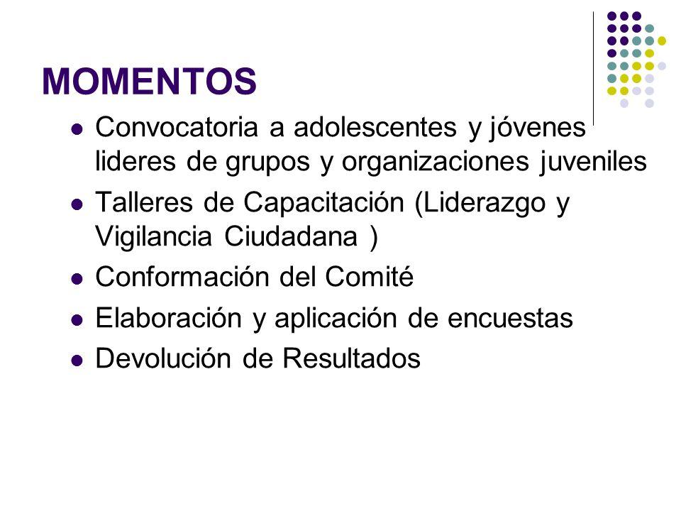 MOMENTOS Convocatoria a adolescentes y jóvenes lideres de grupos y organizaciones juveniles Talleres de Capacitación (Liderazgo y Vigilancia Ciudadana ) Conformación del Comité Elaboración y aplicación de encuestas Devolución de Resultados