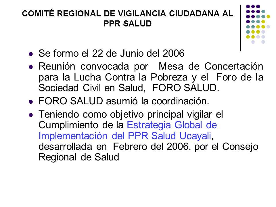 COMITÉ REGIONAL DE VIGILANCIA CIUDADANA AL PPR SALUD Se formo el 22 de Junio del 2006 Reunión convocada por Mesa de Concertación para la Lucha Contra la Pobreza y el Foro de la Sociedad Civil en Salud, FORO SALUD.