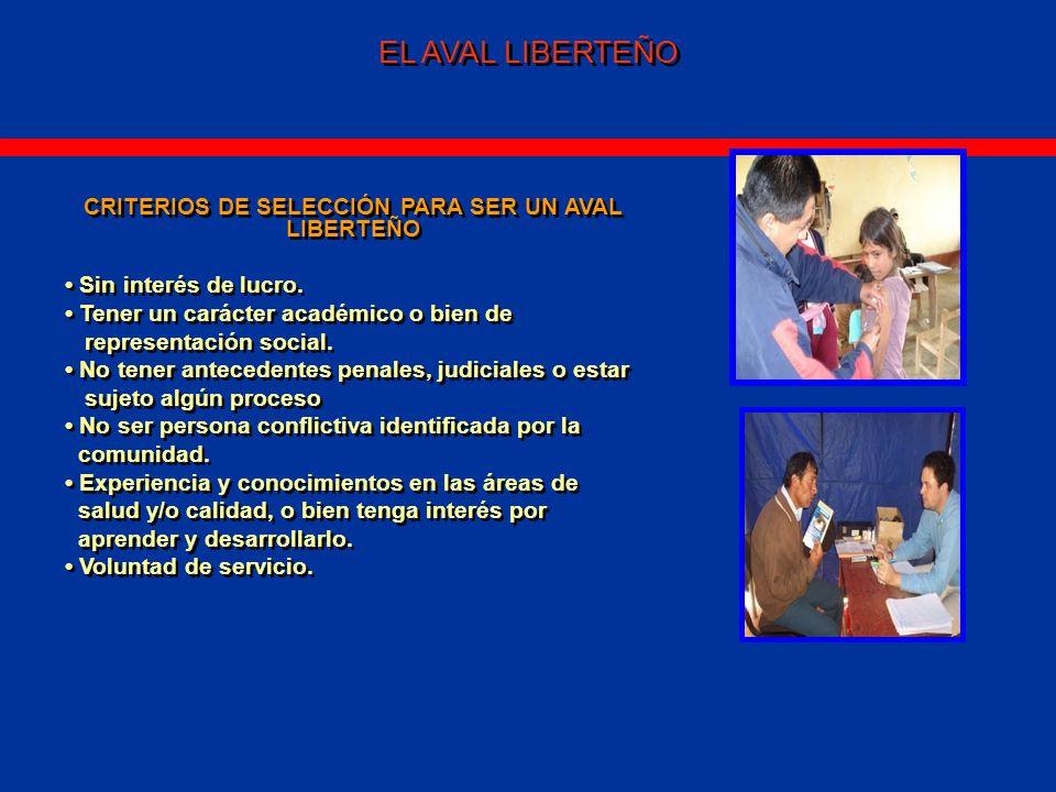 EL AVAL LIBERTEÑO CRITERIOS DE SELECCIÓN PARA SER UN AVAL LIBERTEÑO Sin interés de lucro.
