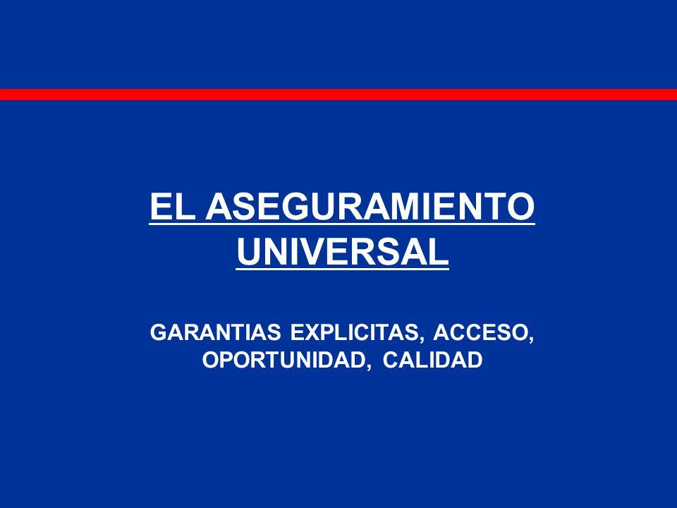 EL ASEGURAMIENTO UNIVERSAL GARANTIAS EXPLICITAS, ACCESO, OPORTUNIDAD, CALIDAD
