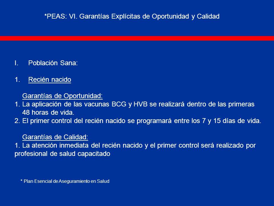 I.Población Sana: 1.Recién nacido Garantías de Oportunidad: 1.