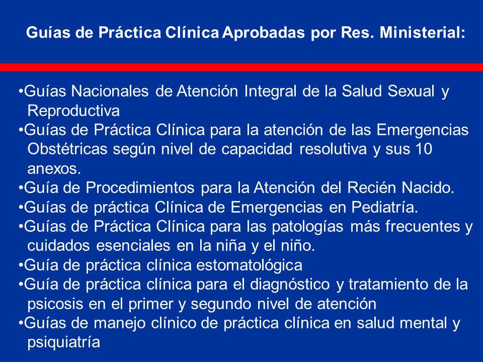 Guías Nacionales de Atención Integral de la Salud Sexual y Reproductiva Guías de Práctica Clínica para la atención de las Emergencias Obstétricas según nivel de capacidad resolutiva y sus 10 anexos.