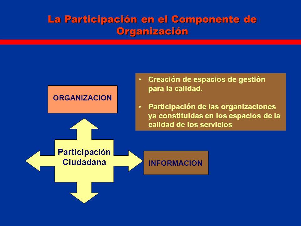 La Participación en el Componente de Organización ORGANIZACION Creación de espacios de gestión para la calidad. Participación de las organizaciones ya