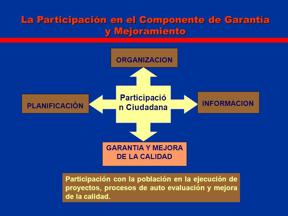 La Participación en el Componente de Garantía y Mejoramiento ORGANIZACION Participació n Ciudadana PLANIFICACIÓN INFORMACION GARANTIA Y MEJORA DE LA C