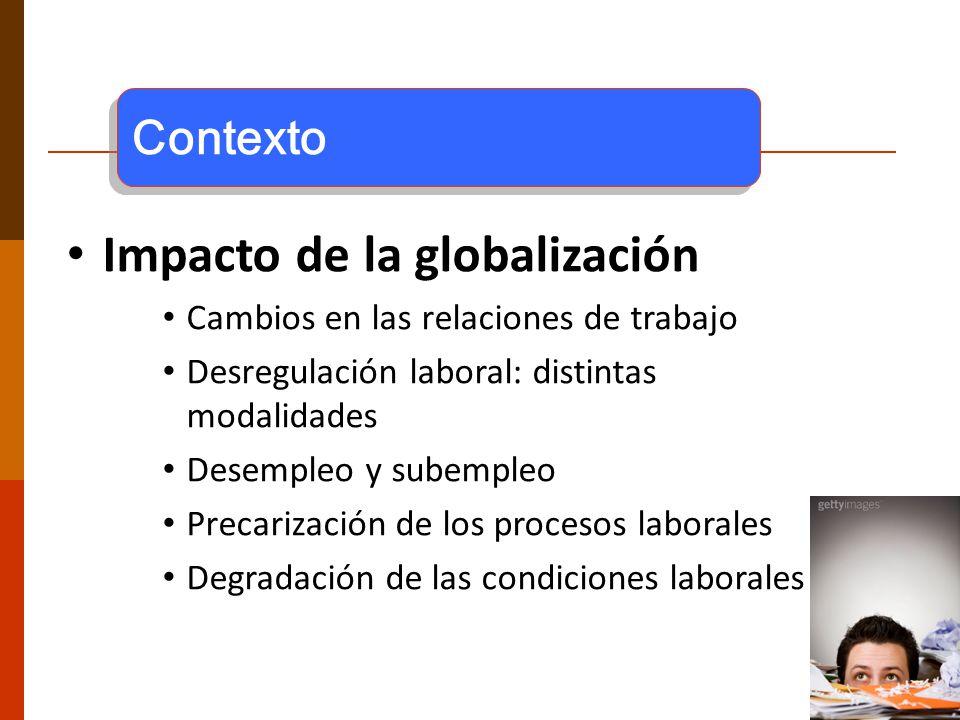 2 Impacto de la globalización Cambios en las relaciones de trabajo Desregulación laboral: distintas modalidades Desempleo y subempleo Precarización de los procesos laborales Degradación de las condiciones laborales Contexto