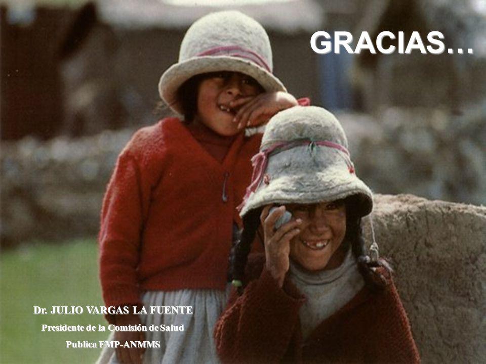33 GRACIAS… Dr. JULIO VARGAS LA FUENTE Presidente de la Comisión de Salud Publica FMP-ANMMS