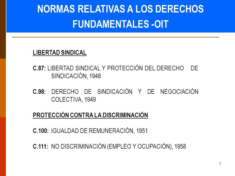 7 LIBERTAD SINDICAL C.87: LIBERTAD SINDICAL Y PROTECCIÓN DEL DERECHO DE SINDICACIÓN, 1948 C.98: DERECHO DE SINDICACIÓN Y DE NEGOCIACIÓN COLECTIVA, 1949 PROTECCIÓN CONTRA LA DISCRIMINACIÓN C.100: IGUALDAD DE REMUNERACIÓN, 1951 C.111: NO DISCRIMINACIÓN (EMPLEO Y OCUPACIÓN), 1958 NORMAS RELATIVAS A LOS DERECHOS FUNDAMENTALES -OIT