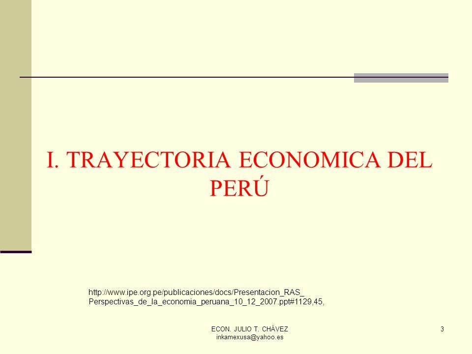 ECON. JULIO T. CHÁVEZ inkamexusa@yahoo.es 3 I. TRAYECTORIA ECONOMICA DEL PERÚ http://www.ipe.org.pe/publicaciones/docs/Presentacion_RAS_ Perspectivas_