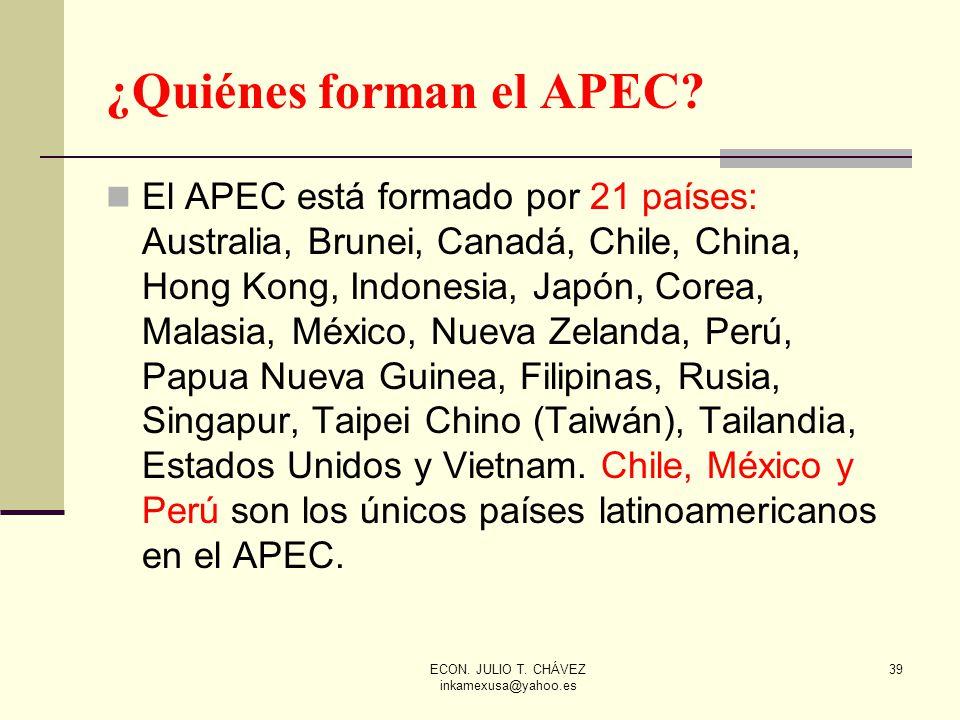 ECON. JULIO T. CHÁVEZ inkamexusa@yahoo.es 39 ¿Quiénes forman el APEC? El APEC está formado por 21 países: Australia, Brunei, Canadá, Chile, China, Hon