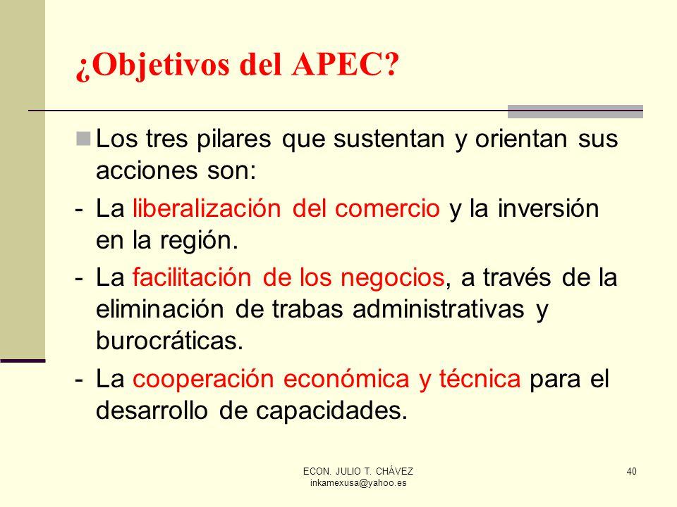ECON. JULIO T. CHÁVEZ inkamexusa@yahoo.es 40 ¿Objetivos del APEC? Los tres pilares que sustentan y orientan sus acciones son: -La liberalización del c