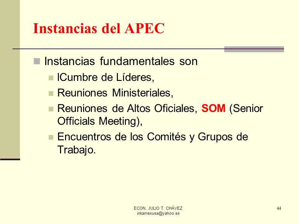 ECON. JULIO T. CHÁVEZ inkamexusa@yahoo.es 44 Instancias fundamentales son lCumbre de Líderes, Reuniones Ministeriales, Reuniones de Altos Oficiales, S