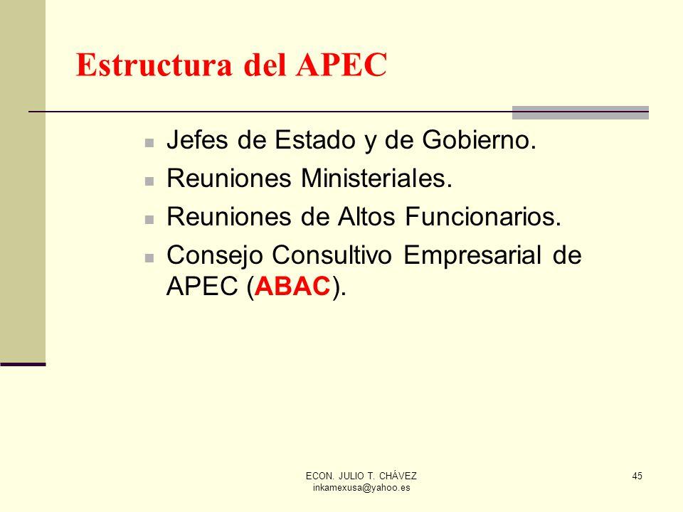 ECON. JULIO T. CHÁVEZ inkamexusa@yahoo.es 45 Jefes de Estado y de Gobierno. Reuniones Ministeriales. Reuniones de Altos Funcionarios. Consejo Consulti