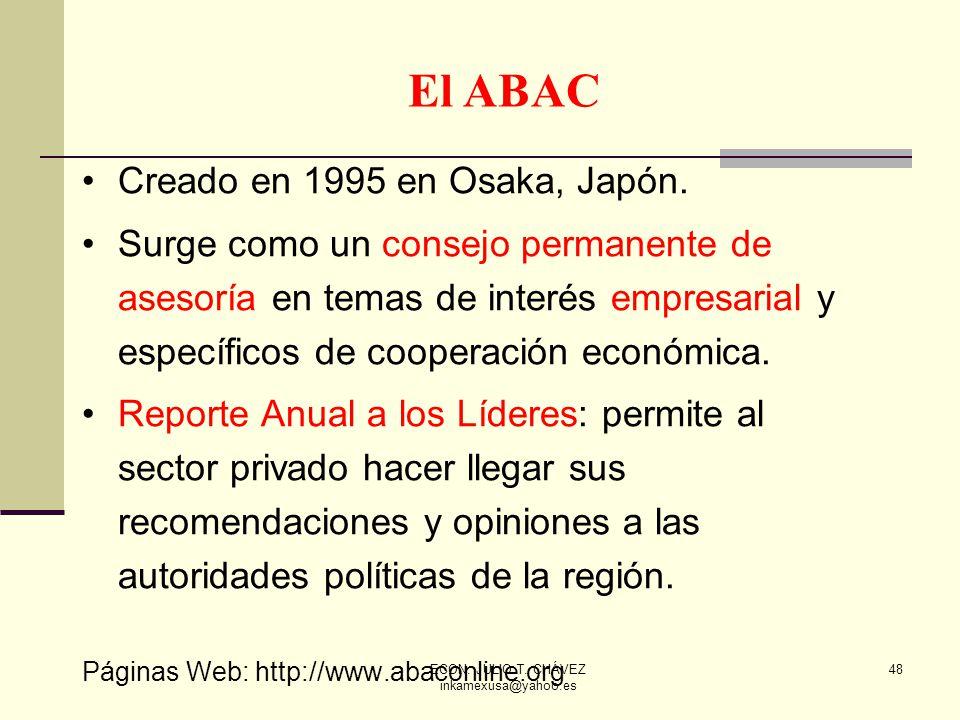 ECON. JULIO T. CHÁVEZ inkamexusa@yahoo.es 48 Creado en 1995 en Osaka, Japón. Surge como un consejo permanente de asesoría en temas de interés empresar