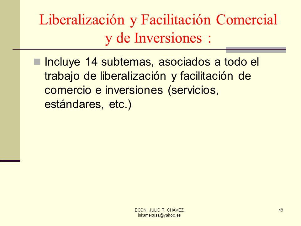 ECON. JULIO T. CHÁVEZ inkamexusa@yahoo.es 49 Liberalización y Facilitación Comercial y de Inversiones : Incluye 14 subtemas, asociados a todo el traba