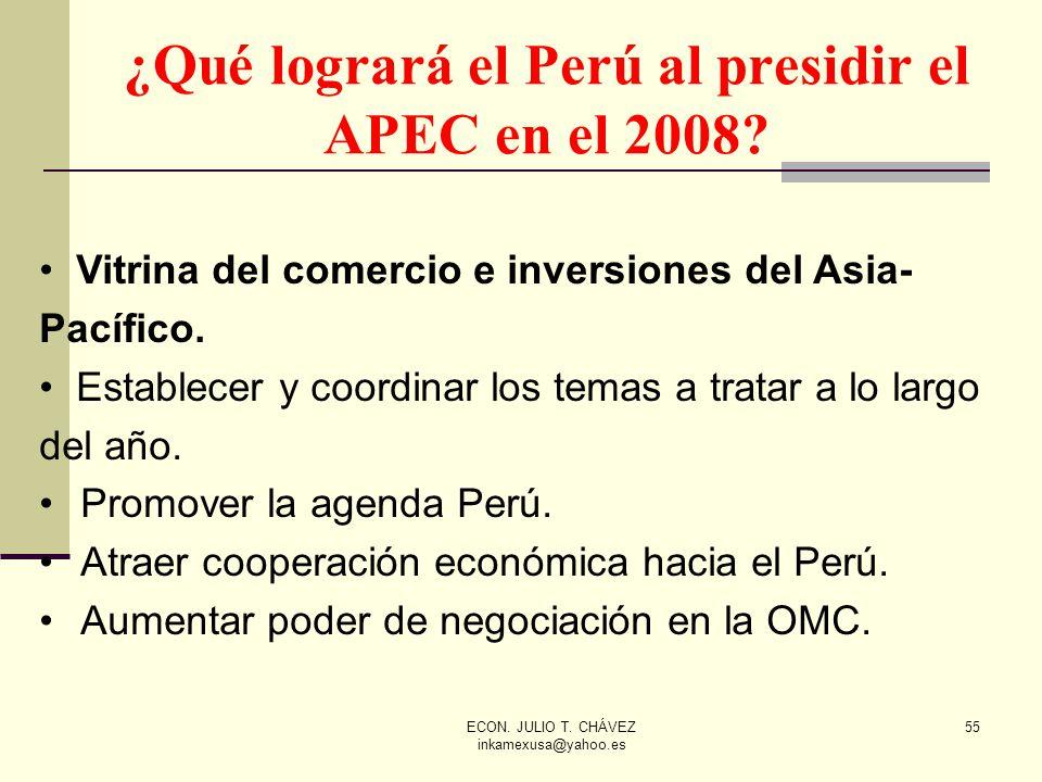 ECON. JULIO T. CHÁVEZ inkamexusa@yahoo.es 55 ¿Qué logrará el Perú al presidir el APEC en el 2008? Vitrina del comercio e inversiones del Asia- Pacífic